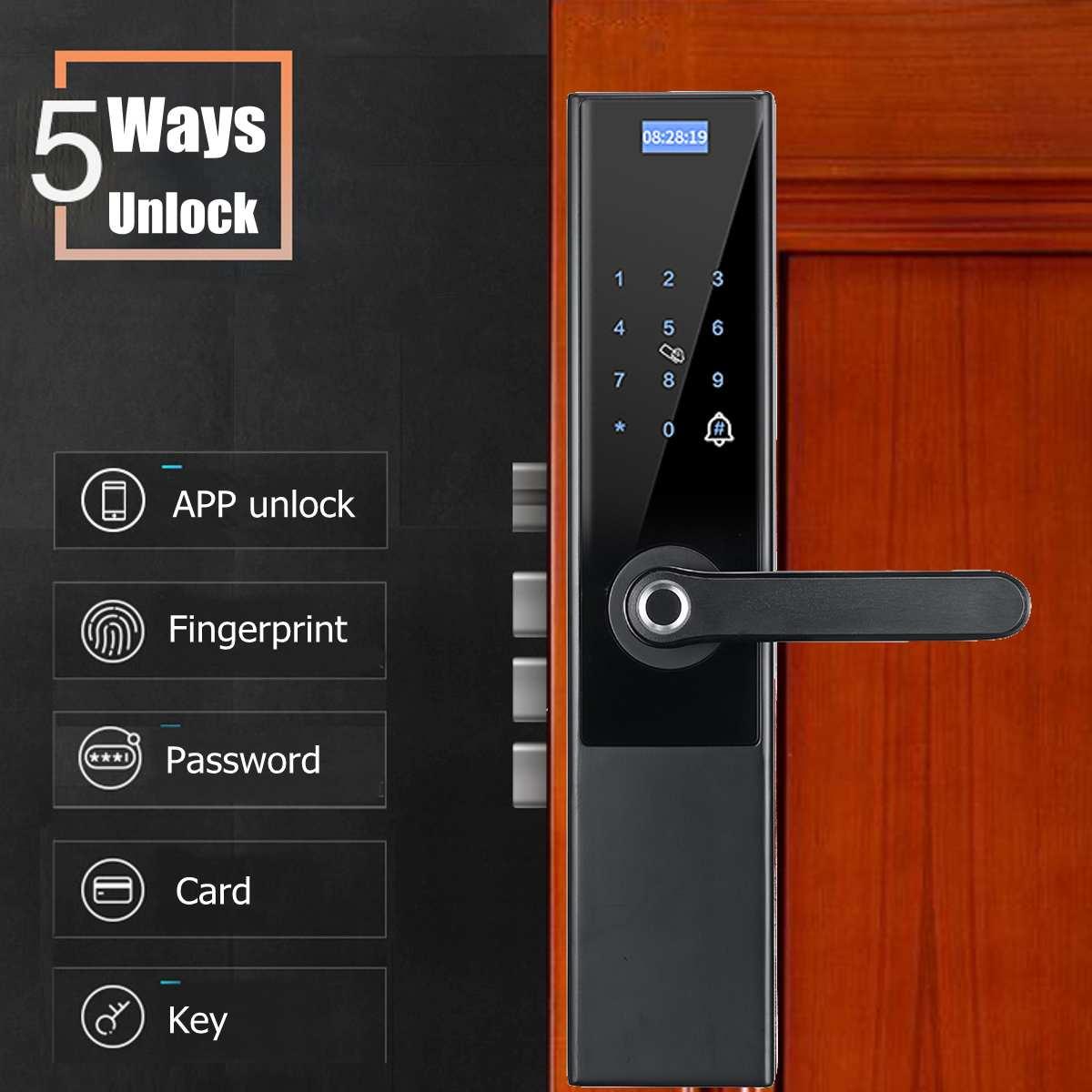 Safurance дверной замок 5 в 1 интеллектуальный замок отпечаток пальца пароль ключ карта приложение электронный умный дверной замок для дома - 2