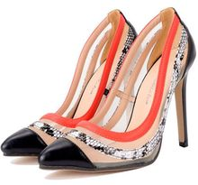 Size 4~9 Black Serpentine Women Shoes Autumn Fashion Mature Orange High Heels Shoes Pumps zapatos mujer (Chenk Foot Length)