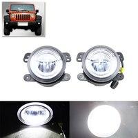 2 In 1 Led Auto Front Fog Light W DRL White Halo Rings Kit For Chrysler
