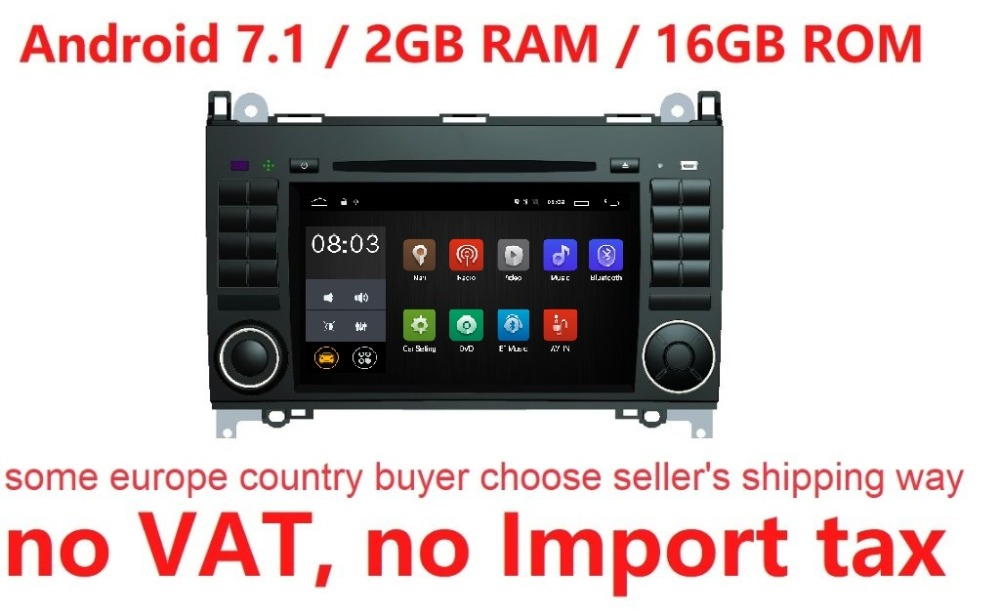 Android 7.1 pour Mercedes/Benz/Sprinter/B200/B-classe/W245/W209 voiture dvd, gps, wifi, radio, BT, volant, Canbus, livraison 8g carte, mic