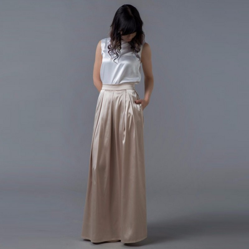 Champagne Satin Long Skirt With Pockets 2018 Smooth Pleated Maxi Skirt For Women To Office Floor Length Formal Lady Skirt Saia