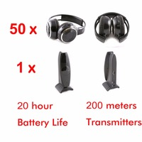 Silent Disco complete system black folding wireless headphones Quiet Clubbing Party Bundle (50 Headphones + 1 Transmitters)