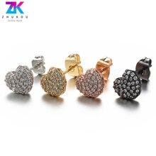 все цены на ZHUKOU 8x9mm A pair of Heart Earrings fashion stud earrings for women korean earrings model:VE45 hole:1mm онлайн