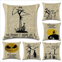 WINLIFE  Halloween Series and Newspaper Print Pillow Case 45*45 Linen Covers Square for Bedroom