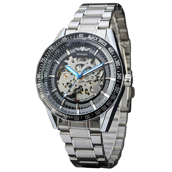 2017 WINNER Fashion Sports Men Watch Silver Stainless Steel Band Automatic Mechanical Wrsitwatch Skeleton Dial Top Brand Luxury hot 2016 winner luxury brand sports men s automatic skeleton mechanical military wrist watch men full steel stainless band reloj