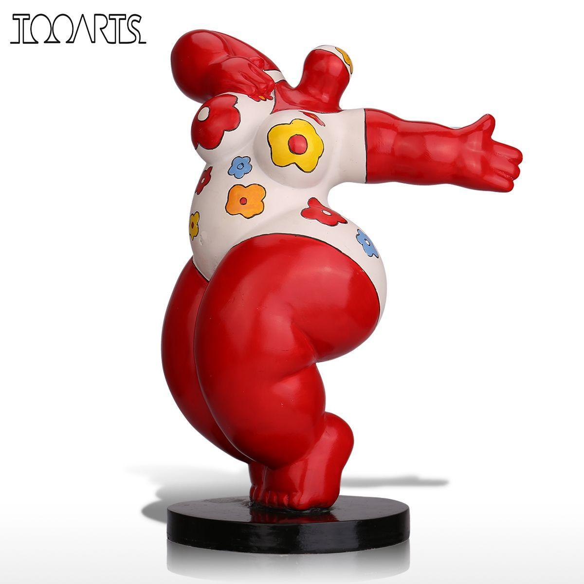 Tooarts Sculpture Dancing Fat Woman Fiberglass Sculpture Exaggerative Modeling Decorative Ornament For Home Office