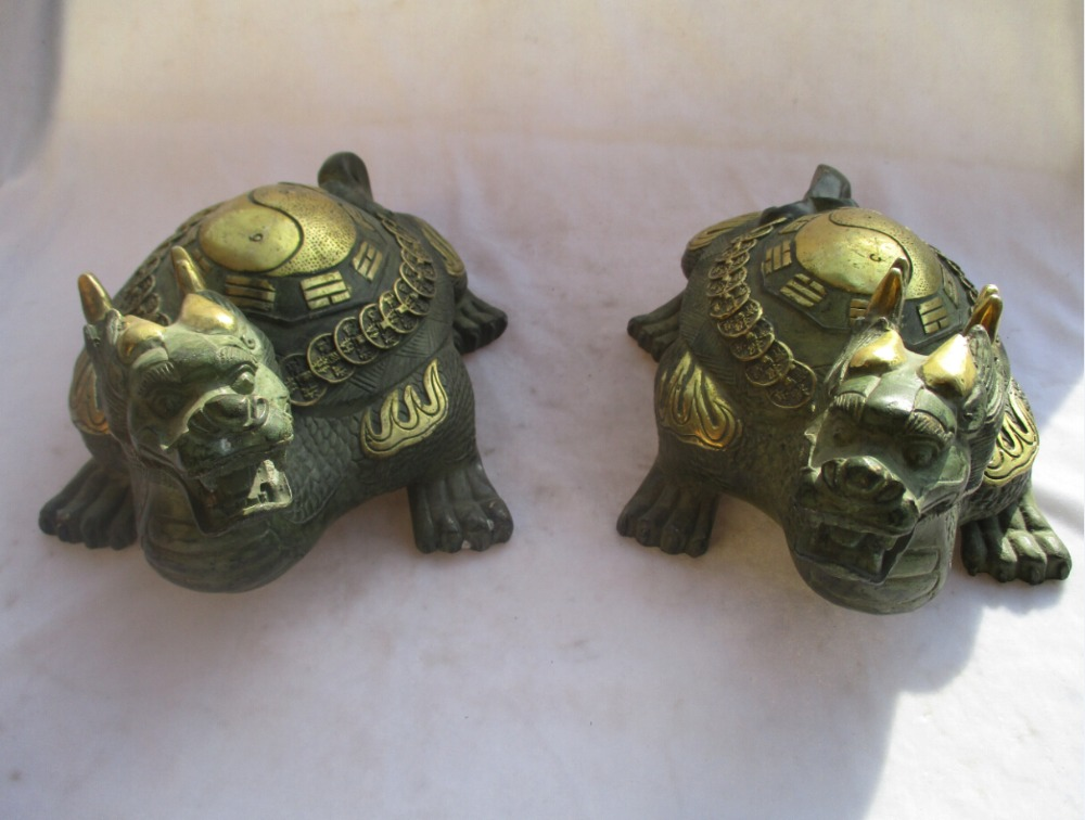 1 Pair of Chinese Old Bronze  Gold gilt  Carved Big Dragon turtle Statue/ Antique  Animals Sculpture1 Pair of Chinese Old Bronze  Gold gilt  Carved Big Dragon turtle Statue/ Antique  Animals Sculpture