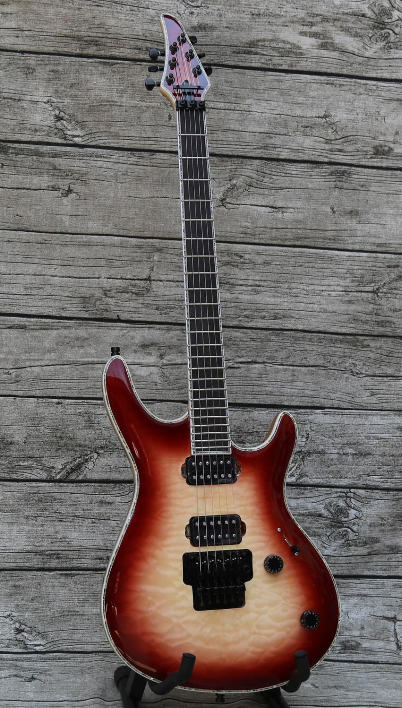 custom neck thru electric guitar neck through body floydrose bridge locking tuners ebony. Black Bedroom Furniture Sets. Home Design Ideas