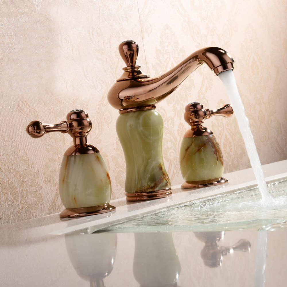 grifera de fregadero del color rosa de oro montado cubierta cascada porcelana mrmol mpsk mezclador grifo