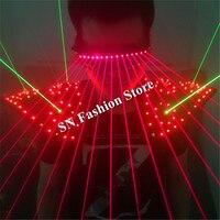 T16 яркая Бальные лазерной жилет DJ лазерного костюмы Танцы носит лазерные очки Красный Лазерная Костюм LED одежда плечо привело жилет