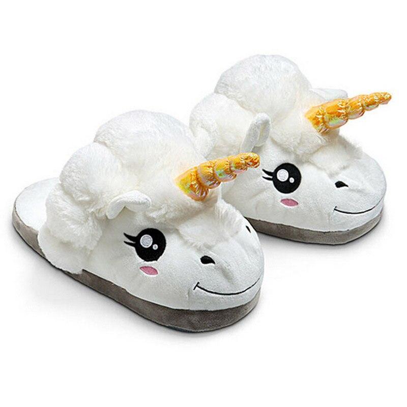 Hombres Adultos Zapatillas de invierno Zapatillas de Felpa Unicornio Lindo Divertido Mujeres Inicio Zapatos de Algodón Caliente Con Tacón Zapatillas Pantufas Unicornio