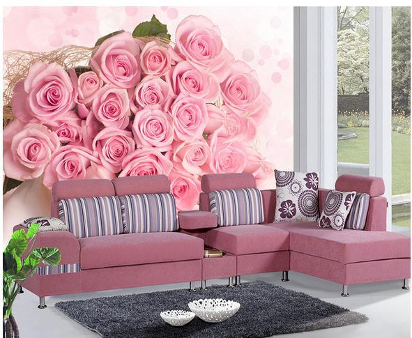 New Large Wallpaper Custom Rose Pink Roses Tv Wall Mural Paper Papel De Parede Stickers Free Shipping8415