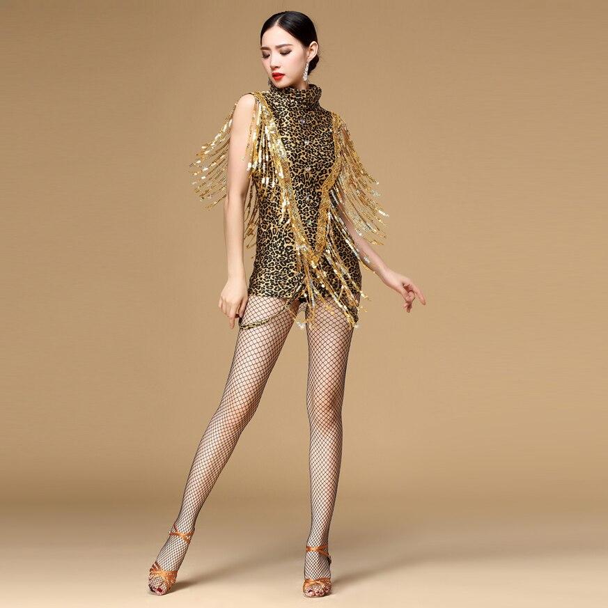 d0bccbd209766 2018 New Ballroom Dance Dress Samba Costume For Women Sexy Leopard Print  Salsa Dresses With Tassels Nightclub Dress Jazz Dance-in Latin From Novelty  .