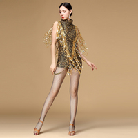 2016 New Ballroom Dance Dress Samba Costume For Women Sexy Leopard Print Salsa Dresses With Tassels