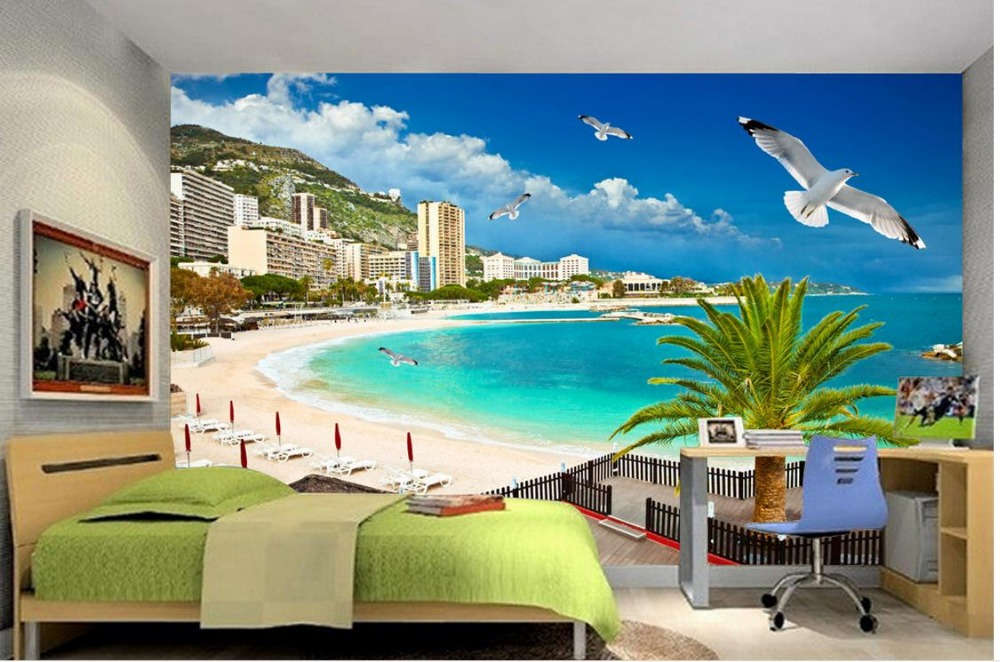 Wallpaper 3d stereoscopic beautiful hawaii beach 3d for 3d wallpaper for home decoration