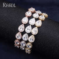 RAKOL Classic AAA Water Drop Cubic Zircon Wedding Bridal Bracelets Bangle For Women Rose Gold Color Christmas Gifts