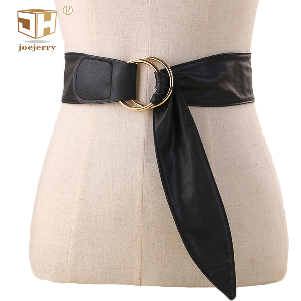 joejerry Cheap Leather Wide Belt Female Round Buckle Belt For Dress Black Brown Red Color 100cm