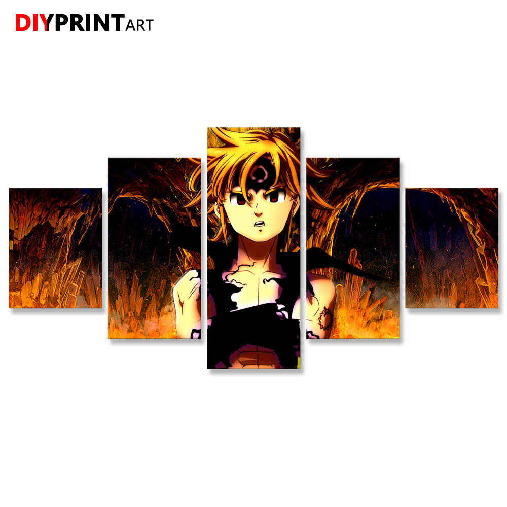 Meliodas Nanatsu No Taizai 5 Panel Modern Art Print Pictures for Wall Decoration A2211