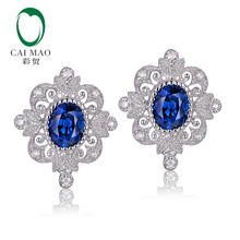 CaiMao Vintage 0.92ct Blue Sapphires 0.11ct Round Diamond 14kt White Gold Retro Earrings For Women