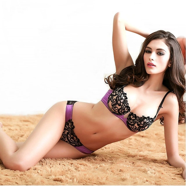 8a8e8d7e2d4b0 2015 bra and brief sets women s sexy lace bra sets Flower embroidery ultra  thin transparent lace