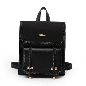 Image 4 - Комплект из двух предметов, женский рюкзак из высококачественной искусственной кожи, Женский школьный рюкзак для девочек подростков, сумка на плечо, 2018