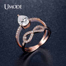 UMODE Brand Jewelry Infinit Rings For Women Rose Gold Plated Crystal Cocktail Ring Bague Femme Hot