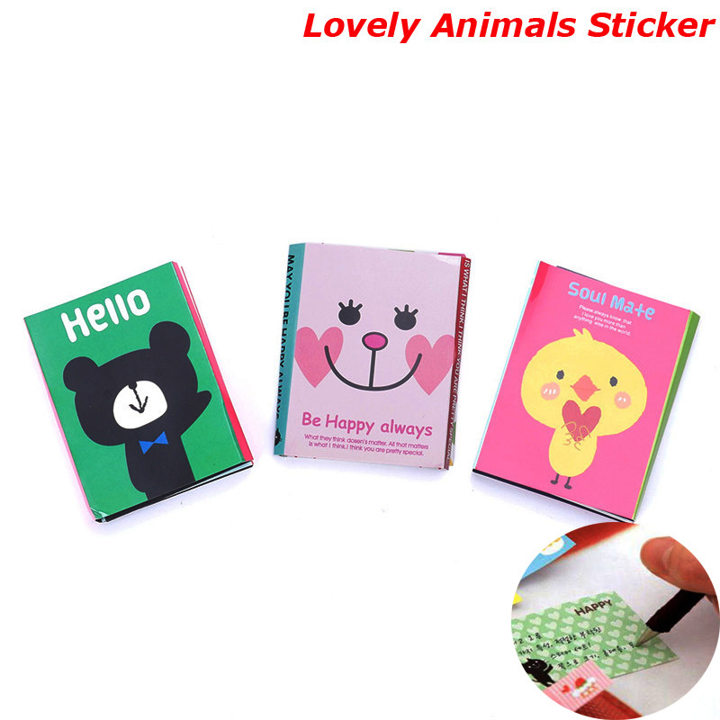 Animal Cat Bear Cute Kawaii Sticky Notes Memo Pad School Supplies Planner Stickers Paper Bookmarks Korean Stationery cute leather a7 memo pad mini paste message stickers smile laugh notebook personal daily planner organizer notes paper with box