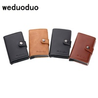Weduoduo Genuine Leather Metal Men Card Holder RFID Aluminium High Quality Credit Card Holder With RFID