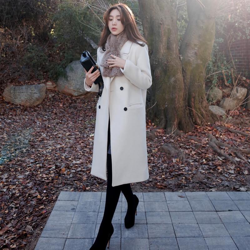 2017 Korean Style Women Winter Solid Long Straight Woolen Trench Overcoat Lady Autumn Elegant Loose Coats