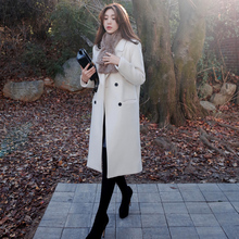 2017 Korean Style Women Winter Solid Long Straight Woolen Trench Overcoat Lady Autumn Elegant Loose Coats Students Wool Office