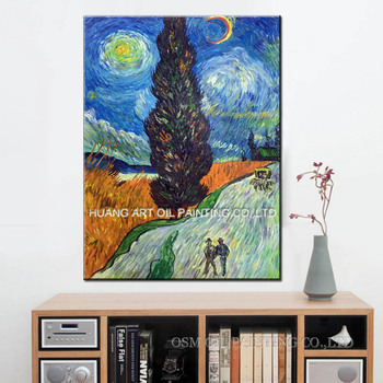 Reproduction of Van Gogh's Walking People on the Street by Skillful Painter Home Decor Handmade Famous Painting on Canvas Art