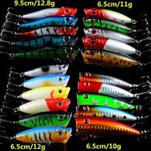 Новинка 21 шт./компл., рыболовные приманки, смешанные 4 модели, Верховая вода, Поппер, искусственная приманка, хороший пластик, воблер рыболовные снасти, оптовая продажа