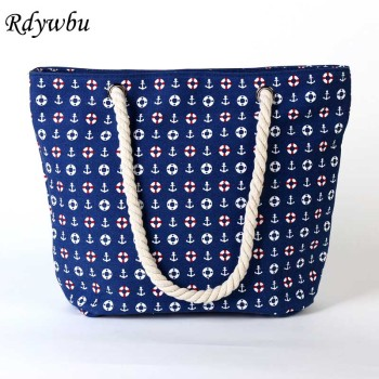 Rdywbu 2017 Summer Anchor Printed Canvas Handbag Women's Casual Big Rope Tote Travel Bag Luxury Designers Holiday Beach Bag B133