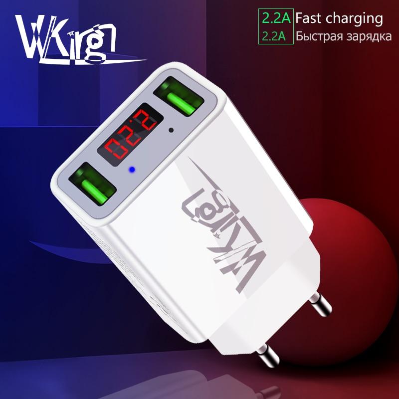 f225be66638 VVKing 2 puerto USB cargador EU/enchufe para iPhone Samsung Xiaomi teléfono  móvil 2.2A Max pantalla digital LED inteligente de carga rápida