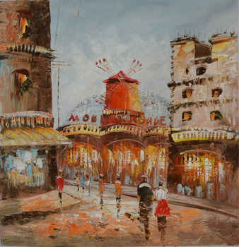 Modern home decor hand-painted  oil painting restoring ancient ways of city street landscape pictures  DM- 150627-3