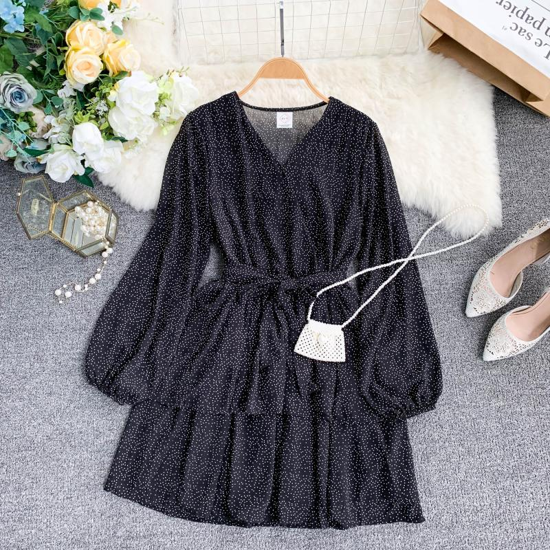 Korean Summer 2019 Sweet Women Dress Elegant V Neck Puff Sleeve Dot Print Dress Cascading Ruffle A Line Female Dress Vestido 46