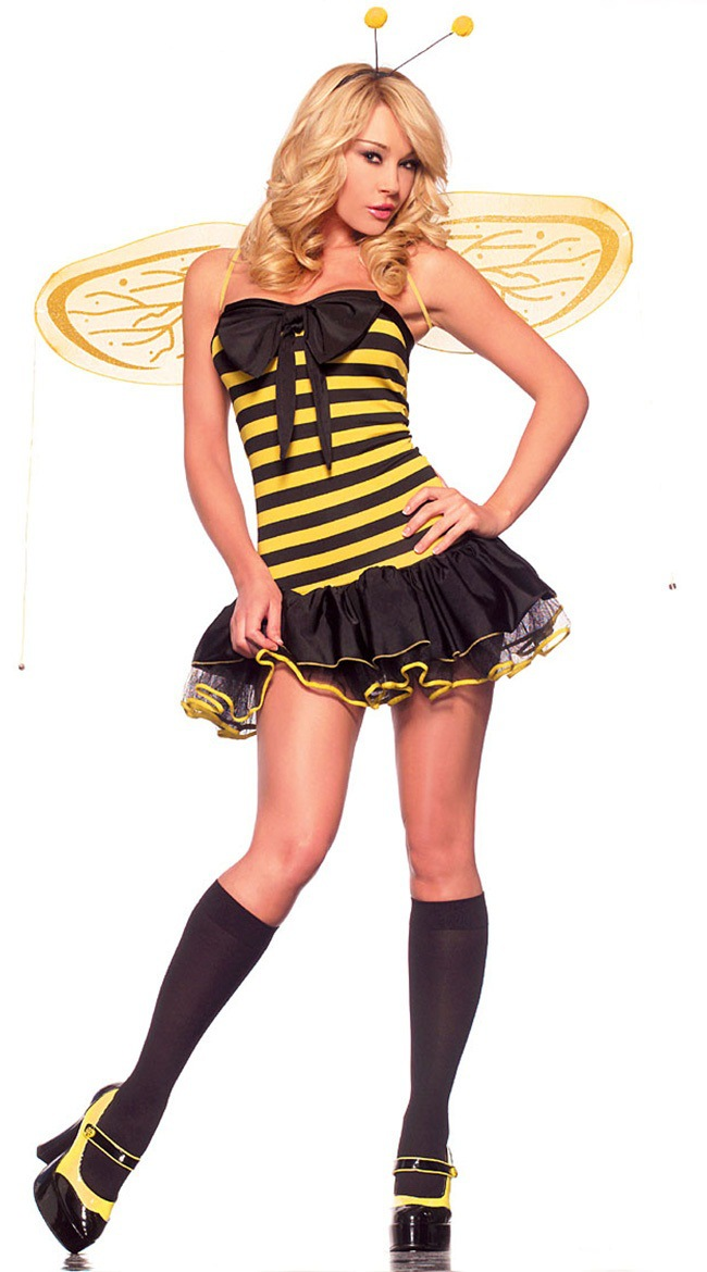 Women Sexy Bee Cosplay Costumes Yellow Black Dresses Wings Set Deguisement  For Carnaval Halloween Cosplay Costumes