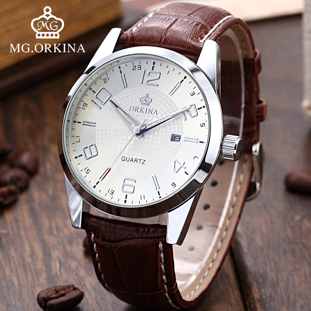 Business Silver Japan Quartz Movement Mens Watch Mg.Orkina Fashion Casual Wrist Watches Men Auto Date Genuine Leather Clock Man mens business dress quartz watch men mg orkina classic auto day date black leather japan quartz movement clock men wrist watches
