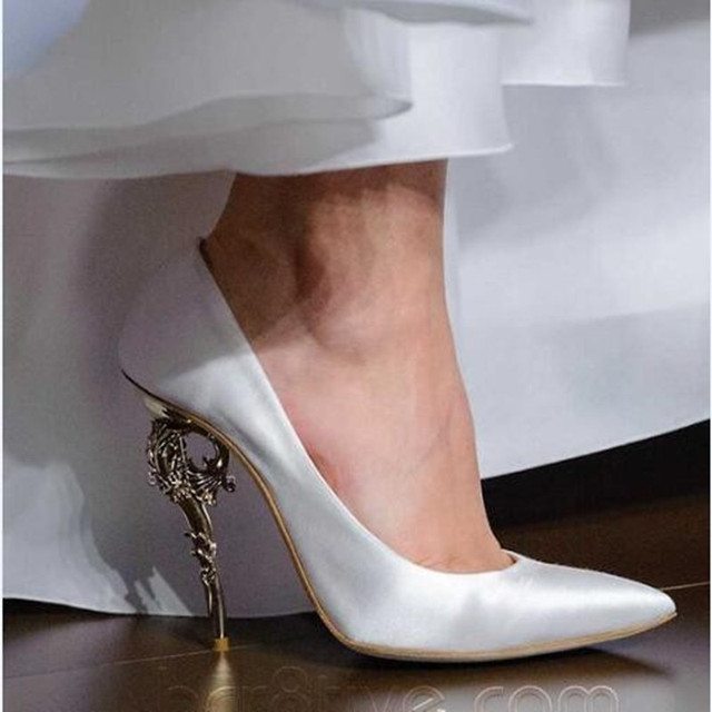 bcc84db90f79 Elegante Damen Party Schuhe SEIDE Kurve Verzierten Spiralling Muster Insel  Ferse Women Fashion Barock Pumpen Chic