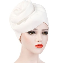 7 Colors Women Cotton Solid Color Muslim Indian Turban Hat Side Twist Spiral Large Flower Hair Loss Chemo Cap Pleated Cuff