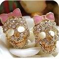 Omh venden al por 6 par OFF 20% = $0.88 / par EH95 accesorios moda vintage rosa arco rhinestone lleno espárrago cráneo pendiente 5 g