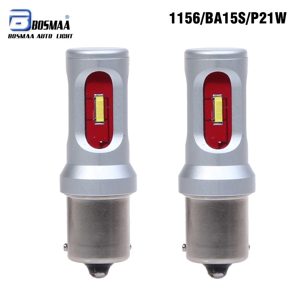 Bosmaa Car Tail Light 1156 LED Canbus BA15S/P21W  S25 CSP LED Auto Brake Reverse Lamp DRL Rear Parking Bulbs car styling tail lights for toyota highlander 2015 led tail lamp rear trunk lamp cover drl signal brake reverse