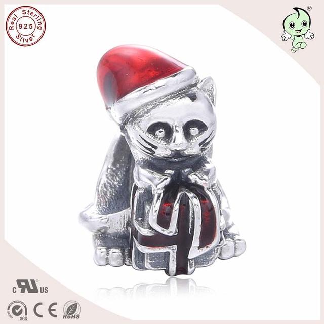 Buena Calidad Encantadora Del Esmalte de Navidad Diseño Del Gato 925 Plata Pura Encanto Ajustados Famosos de Europa Marca Pulsera de Plata