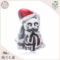 Gute Qualität Schöne Emaille Weihnachten Katze Design 925 Reinem Silber Charme Passend Europäischen Berühmte Marke Silber Armband