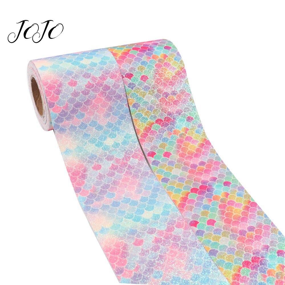 JOJO BOWS 75mm 2y Sparkly Glitter Ribbon Rainbow Mermaid Printed Webbing For DIY Hair Bows Apparel Sewing Festival Decoration