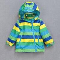 Kids Boys Zipper Jackets Colored Striped Hooded Velvet Coat For Girls Windbreaker Children Jacket Boys Girl