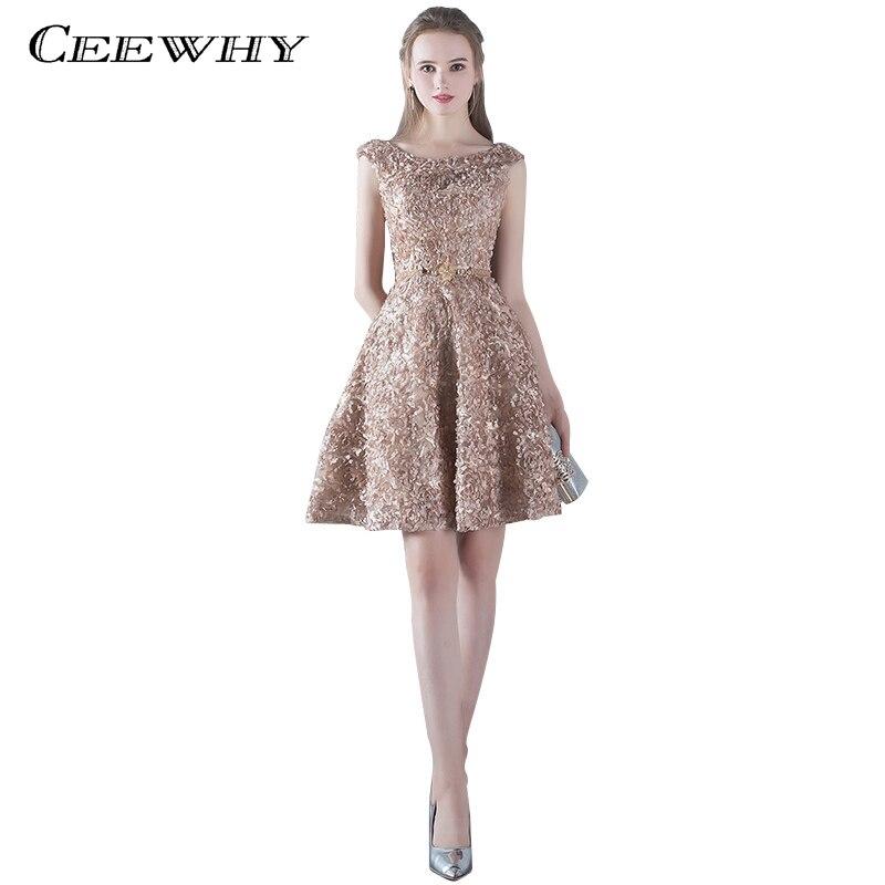 CEEWHY Appliques Robe   Cocktail   Party   Dress   2018 Elegant Backless Short   Cocktail     Dresses   Adjustable Lace Up Back Prom   Dress