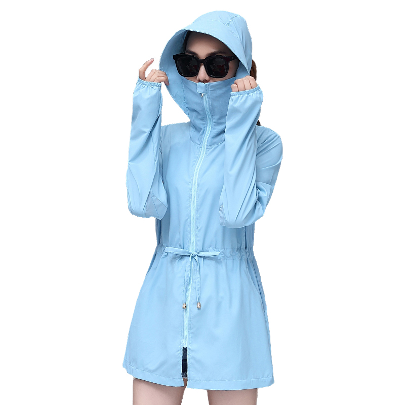 New Thin   Trench   Coat Women 2019 Summer Hooded Sun protection clothing Female Plus size 4XL Anti-UV Breathable Windbreaker H801