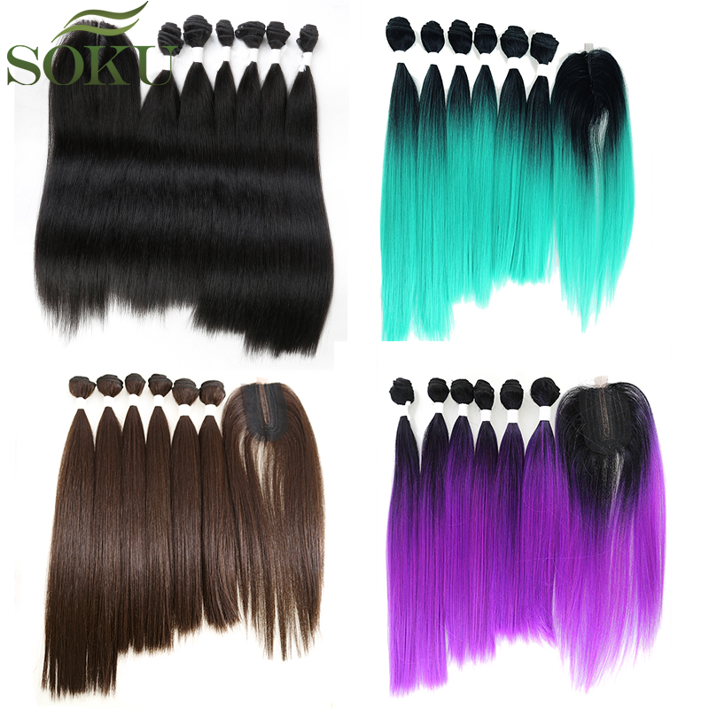 SOKU Synthetic-Hair-Bundles Closure Lace 7pieces/Pack With 14-18inch/Yaki/Straight Weaving