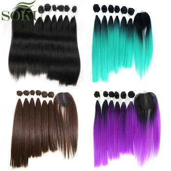 SOKU Synthetic Hair Bundles With Closure 14-18inch Yaki Straight Hair Weaving 6 Bundles With Lace Closure 185g 7pieces/pack
